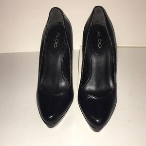 ALDO Black Leather Platform Stiletto